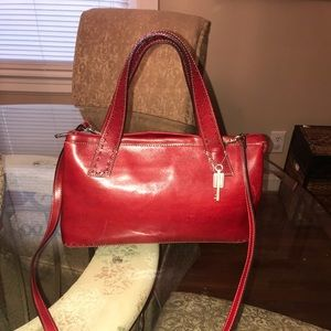 Vintage Red Fossil Satchel w/Shoulder Strap. Nice